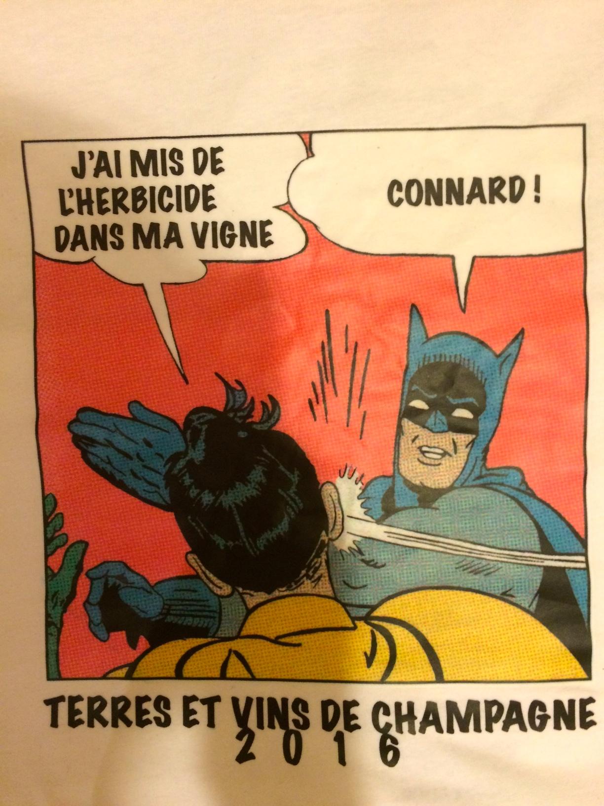 This year's Terres et Vins t-shirt, concept by Raphaël Bérèche. Rough  translation