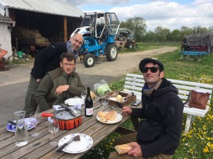 Lunch with Jean-Daniel, Hervé, Vincent, and their tractor.